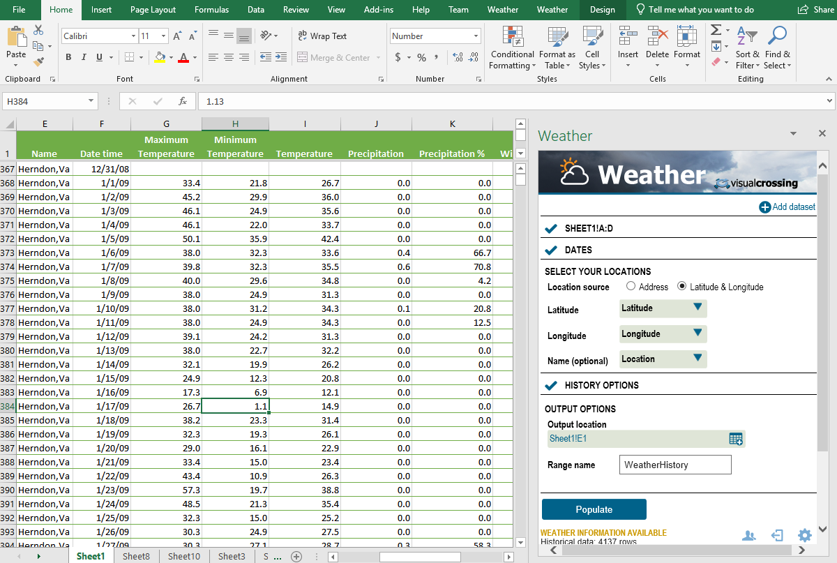 Visual Crossing Weather add-in makes it easy to import weather data