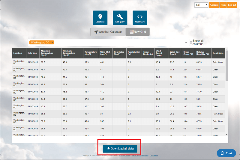 Download a spreadsheet of weather data