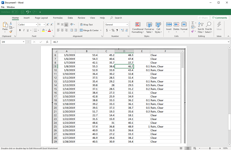 Weather data embedded into Word