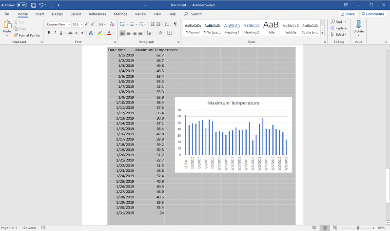 Weather data chart embedded into Word
