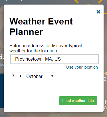 Enter the city and proposed vacation date to retrieve the weather summary